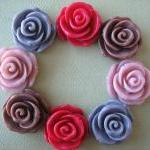 8pcs - Rose Flower Cabocho..