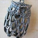 1PC - Antique Silver Owl Pe..