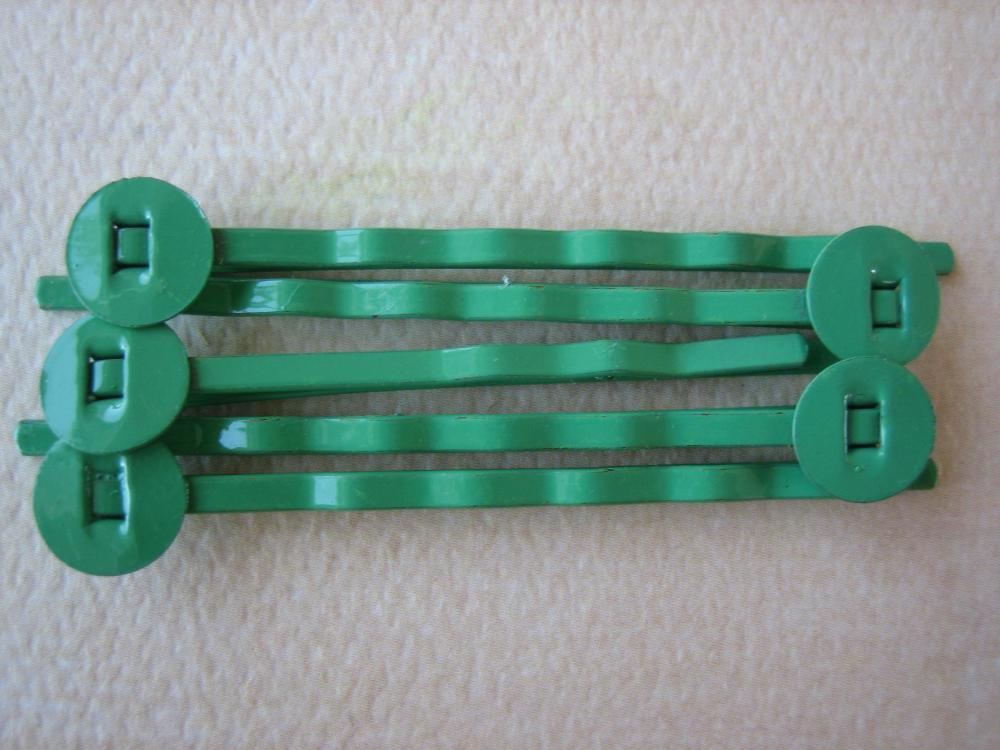 10PCS - Green - Hair Pins - 8MM Round Pad - Jewelry Findings by ZARDENIA
