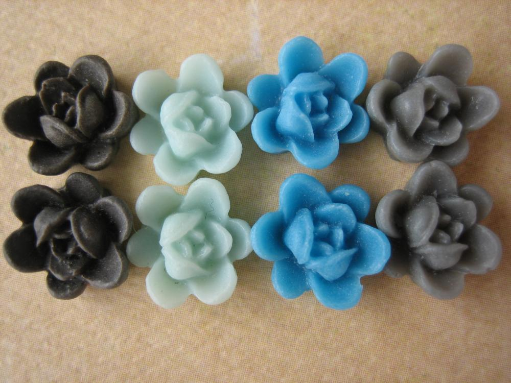 8PCS - Mini Lotus Flower Cabochons - Resin - 9mm - Blues, Gray and Brown - Cabochons by ZARDENIA