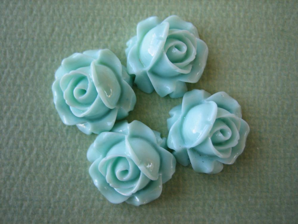 4PCS - Cabbage Rose Flower Cabochons - 15mm - Resin - Aqua - Findings by ZARDENIA
