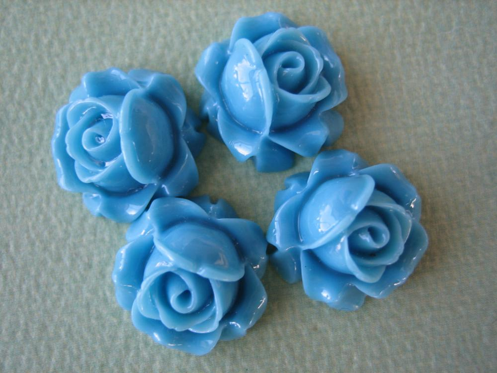 4PCS - Cabbage Rose Flower Cabochons - 15mm - Resin - Blue - Findings by ZARDENIA
