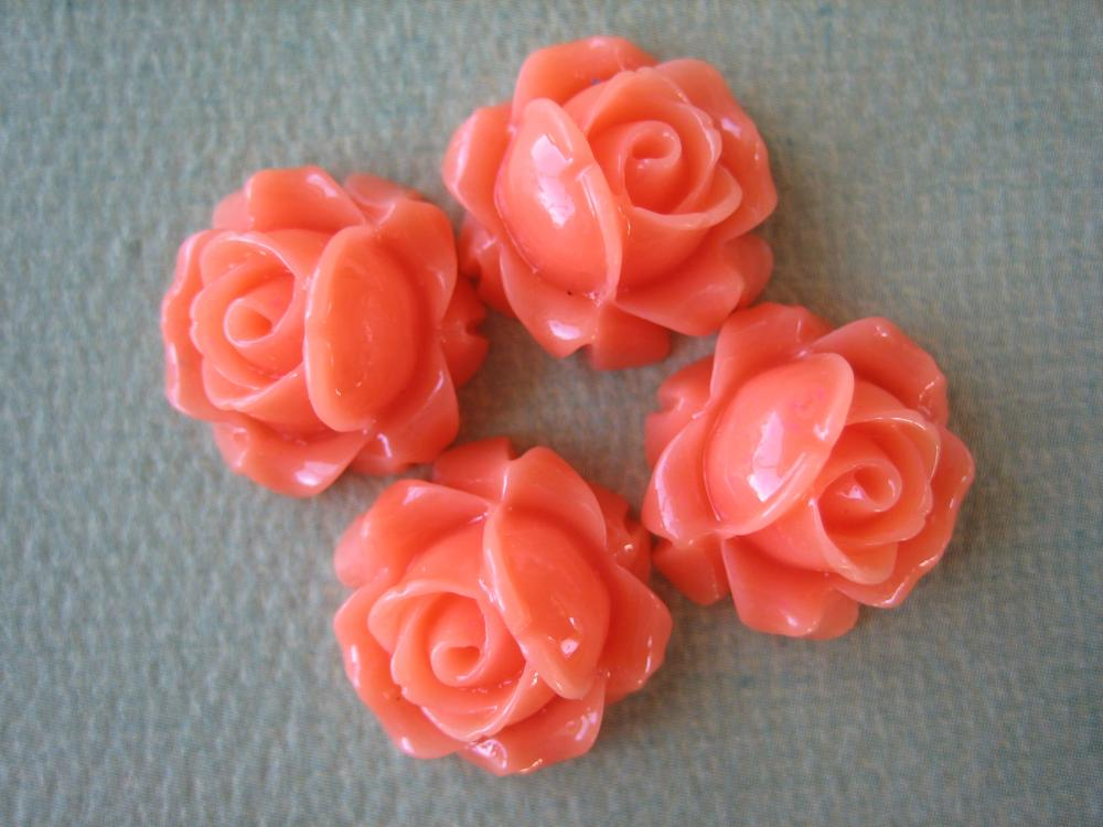 4PCS - Cabbage Rose Flower Cabochons - 15mm - Resin - Coral - Findings by ZARDENIA