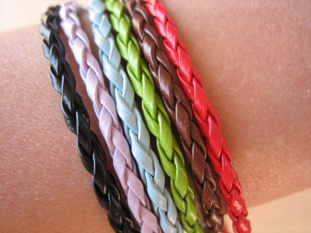 6PCS - Braided Imitation Leather Bracelet Cords - Mixed Colors - 20cm