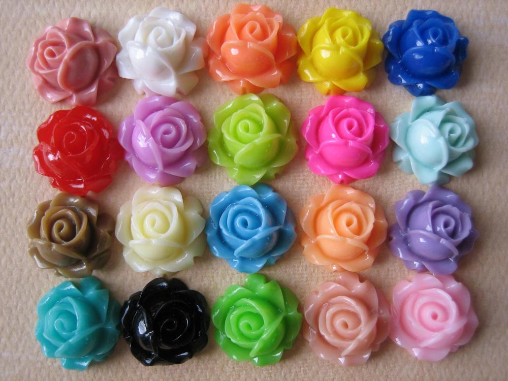 20PCS - Cabbage Rose Flower Cabochons - 15mm - Resin - Sampler Pack - Findings by ZARDENIA
