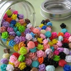 Mini Roses in a Glass Jar - 300 Pieces - Crafting and Jewelry Supplies by ZARDENIA - Great Crafting Gift