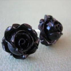 Adorable Cabbage Rose Earrings - Black - Free Standard US Shipping - Jewelry by ZARDENIA