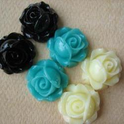 6PCS - Cabbage Rose Flower Cabochons - 15mm - Resin - Blue, Black, and Ivory - Findings by ZARDENIA