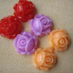 6PCS - Cabbage Rose Flower Cabochons - 15mm - Resin - Ela's Rose Garden - Findings by ZARDENIA