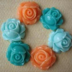 6PCS - Cabbage Rose Flower Cabochons - 15mm - Resin - Aqua, Turquoise and Pale Peach - Findings by ZARDENIA