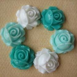 6PCS - Cabbage Rose Flower Cabochons - 15mm - Resin - Aqua, Turquoise and White - Findings by ZARDENIA