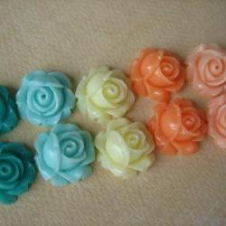 10PCS - Cabbage Rose Flower Cabochons - 15mm - Resin - Mixed Pastels - Findings by ZARDENIA
