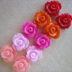 10PCS - Mini Rose Flower Cabochons - 10mm - Resin - Summer Roses - Cabochons by ZARDENIA