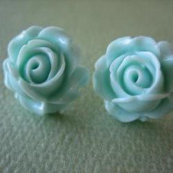 Adorable Cabbage Rose Earrings - Aqua - Free Standard US Shipping - Jewelry by ZARDENIA