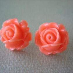 Adorable Cabbage Rose Earrings - Coral - Free Standard US Shipping - Jewelry by ZARDENIA 