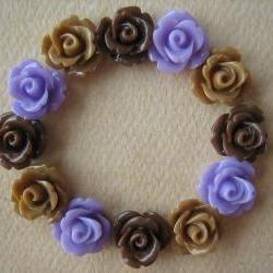 12PCS - Mini Rose Flower Cabochons - 10mm - Resin - Lilac, Latte and Brown - Cabochons by ZARDENIA