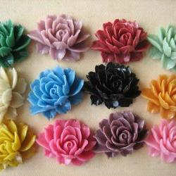 12PCS - Mixed Colors - Ruffle Rose - 45x35mm - Cabochons by ZARDENIA