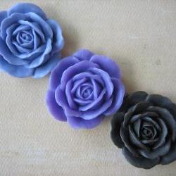 3PCS - Lilac, Lavender and Brown Rose Cabochons - 38mm - Matte - Cabochons by ZARDENIA