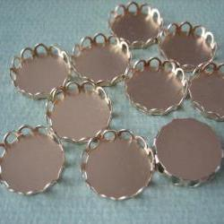 10PCS - Brass Cabochon Settings - Round - Unplated Gold Color - 12mm - Findings by ZARDENIA