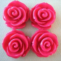 4PCS - Rose Flower Cabochons - 24mm - Crimson - Cabochons by ZARDENIA