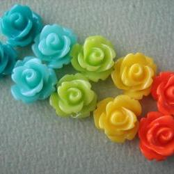 10PCS - Mini Rose Flower Cabochons - 10mm - Resin - Turquoise, Aqua, Green, Yellow and Orange - Cabochons by ZARDENIA