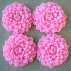 4PCS - Pink - Chrysanthemum Cabochons - 32mm Matte Finish - Great for Rings and Necklaces - Cabochons by ZARDENIA