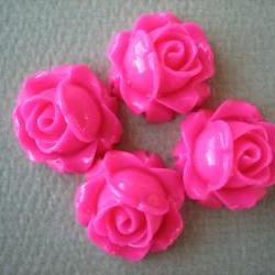 4PCS - Cabbage Rose Flower Cabochons - 15mm - Resin - Honeysuckle Pink - Findings by ZARDENIA