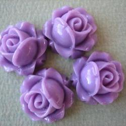 4PCS - Cabbage Rose Flower Cabochons - 15mm - Resin - Lilac - Findings by ZARDENIA