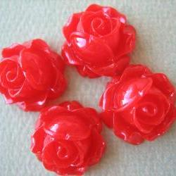 4PCS - Cabbage Rose Flower Cabochons - 15mm - Resin - Red - Findings by ZARDENIA
