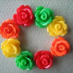 8PCS - Mini Rose Flower Cabochons - 10mm - Resin - Red, Green, Yellow and Orange - Cabochons by ZARDENIA