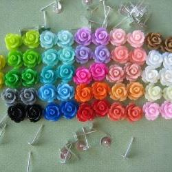 104 Pieces - Mini Rose Flower Cabochon &amp; Earring Post DIY Kit - 10mm - Mixed Sampler Pack - Cabochons by ZARDENIA