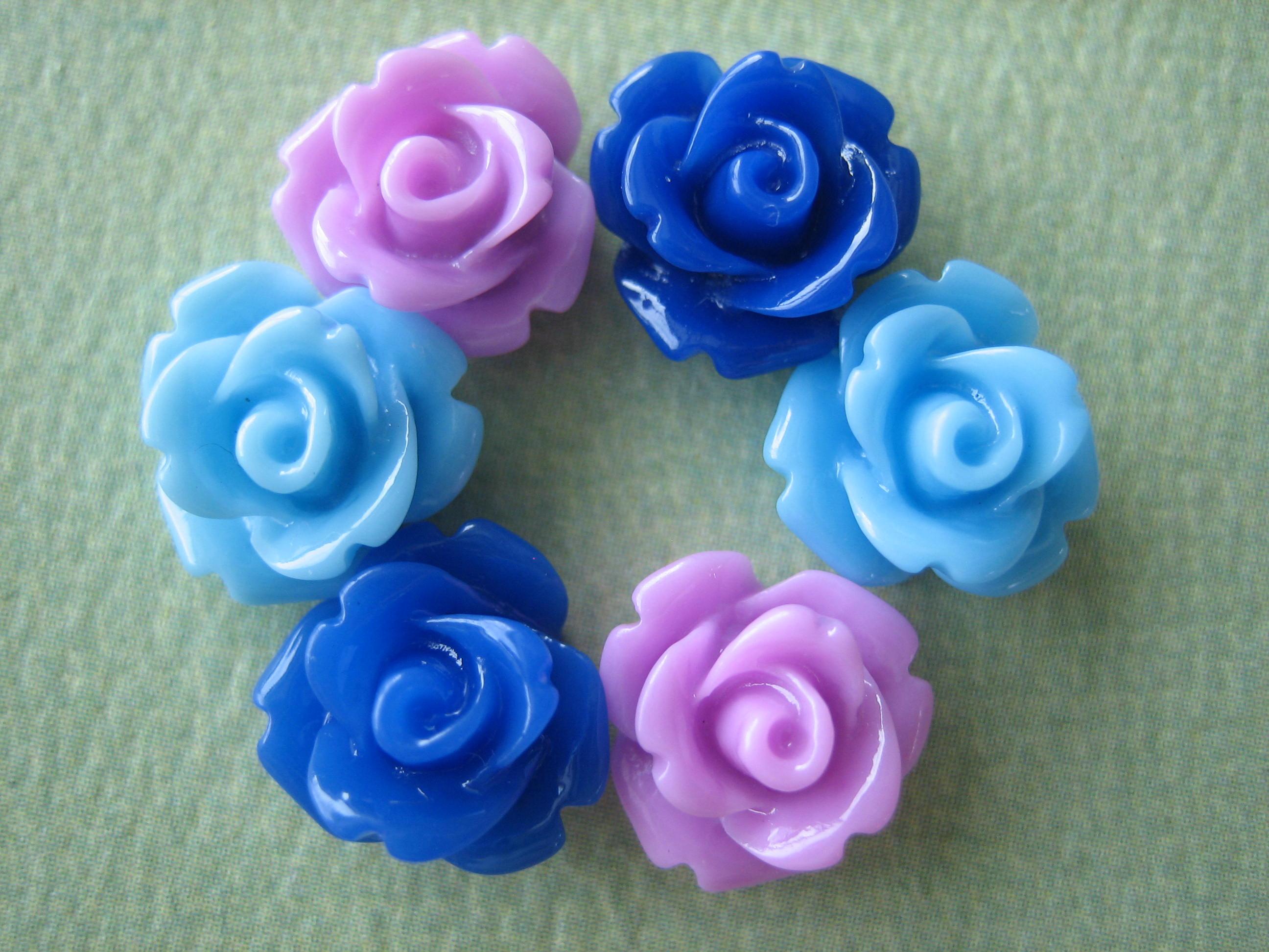 6pcs mini rose flower cabochons 10mm resin